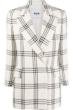 Msgm Checked-pattern cropped-sleeve blazer - Neutrals