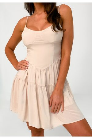 Missguided Cream Cup Detail Tiered Cami Dress