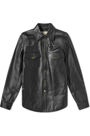 Gucci Men Leather Jackets - Embossed Logo Leather Shirt Jacket