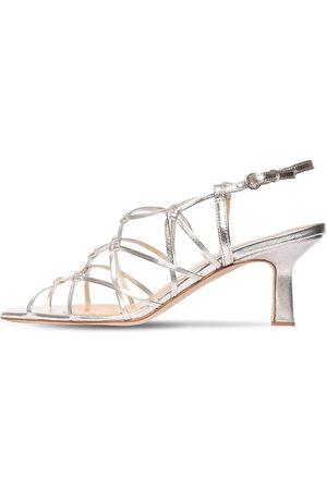 Aeyde 65mm Celia Metallic Leather Sandals