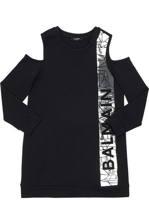 Balmain Logo Print Cotton Sweat Dress