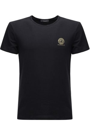 VERSACE Logo Print Stretch Cotton T-shirt