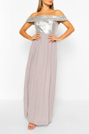 Boohoo Womens Bridesmaid Occasion Sequin Off The Shoulder Maxi Dress - - 6
