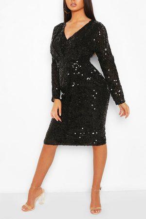 Boohoo Women Bodycon Dresses - Womens Bridesmaid Occasion Sequin Plunge Midi Dress - - 2