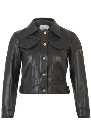 Patou Embroidered logo faux leather jacket