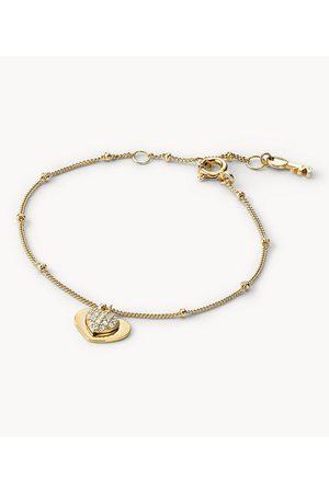 Womens Michael Kors Women's Pavé Heart 14K -Plated Sterling Silver Bracelet