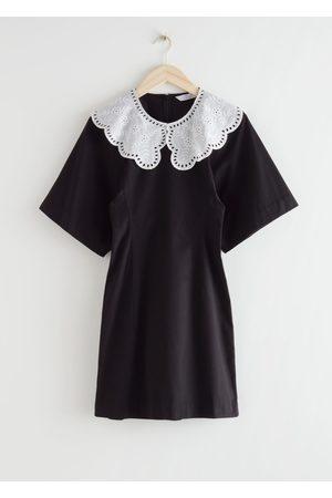 & OTHER STORIES Voluminous Sleeve Crochet Collar Mini Dress