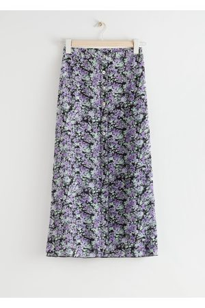 & OTHER STORIES Floral Button Up Midi Skirt