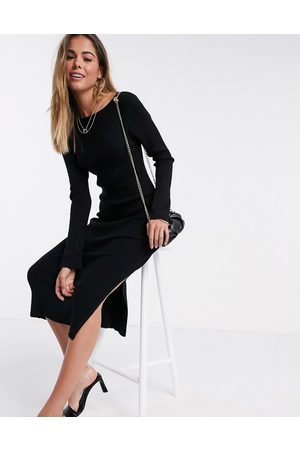 ASOS Crew neck ribbed midi dress