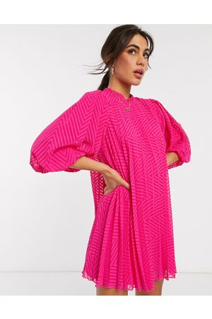 ASOS Pleated trapeze mini dress with puff sleeves in dobby in hot