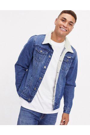 Liquor N Poker Denim jacket with fleece collar in dark wash