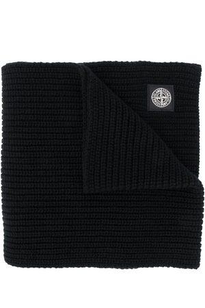 Stone Island Logo patch wool scarf