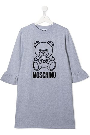 Moschino Textured design long-sleeve dress - Grey