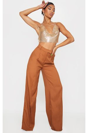 PRETTYLITTLETHING Taupe Woven Tailored Wide Leg Pants
