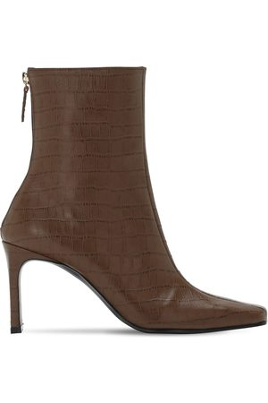 Reike Nen Women Ankle Boots - 80mm Croc Embossed Leather Ankle Boots