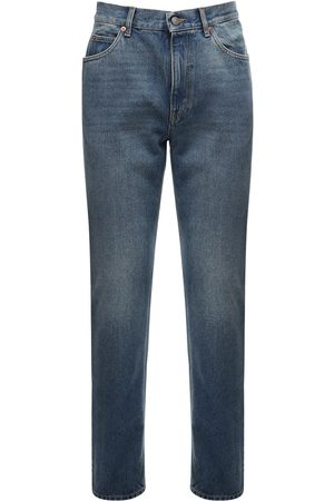 Gucci 20cm Logo Detail Cotton Denim Jeans