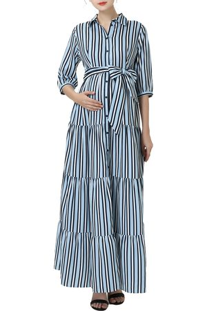 Kimi and Kai Women's Ruby Stripe Belted Maternity/nursing Maxi Dress