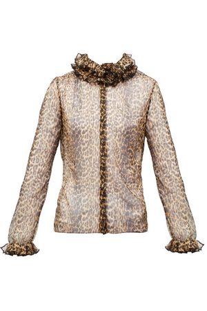 Saint Laurent Ruffled Leopard-print Silk-chiffon Blouse - Womens - Leopard
