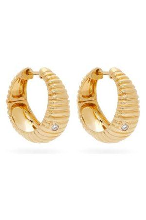 YVONNE LÉON Ridged Diamond & 9kt Hoop Earrings - Womens