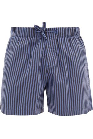 Tekla Men Pajamas - Striped Organic-cotton Pyjama Shorts - Mens - Navy