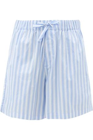 Tekla Striped Organic-cotton Poplin Shorts - Womens - Stripe