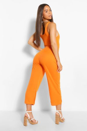 Boohoo Women Culottes - Womens Ribbed Thick Strap Sqaure Neck Culotte Jumpsuit - - 4