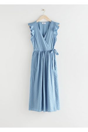 & OTHER STORIES Ruffled Cotton Dobby Midi Dress