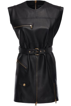 VERSACE Leather Biker Mini Dress