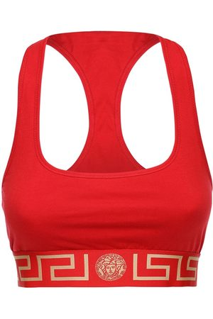 VERSACE Stretch Cotton Jersey Bra Top