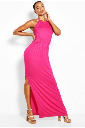 Boohoo Womens Tall Halterneck Split Leg Maxi Dress - - 2