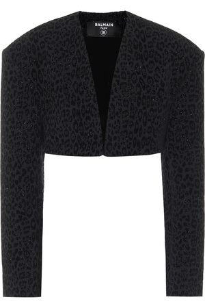 Balmain Cropped leopard-print jacket