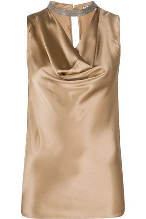 Brunello Cucinelli Brass-embellished draped-neck top