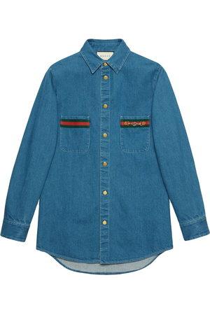 Gucci Men Long sleeves - Web-detail long-sleeve denim shirt