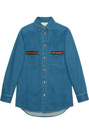 Gucci Web-detail long-sleeve denim shirt