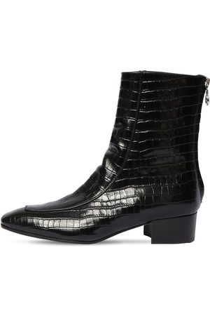 Aeyde 35mm Amelia Croc Embossed Leather Boots