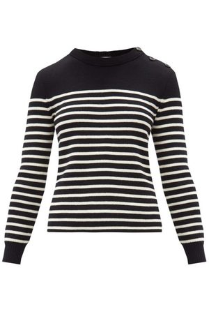 Saint Laurent Women Sweaters - Striped Cotton-blend Sweater - Womens