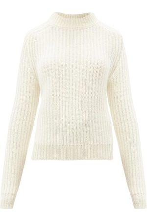 Saint Laurent High-neck Rib-knitted Wool-blend Sweater - Womens - Ivory