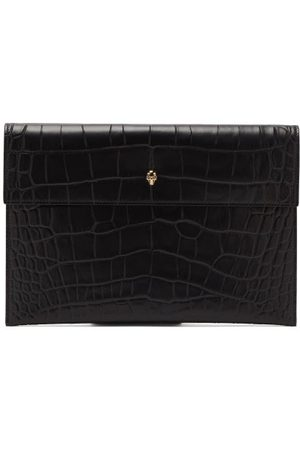 Alexander McQueen Skull Crocodile-effect Leather Clutch Bag - Womens