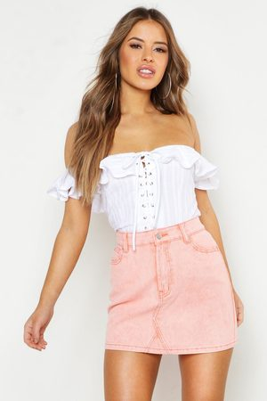 Boohoo Womens Petite Cotton Feel Lace Up Off The Shoulder Top - - 2
