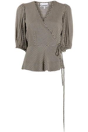 Ganni Checkered V-neck wrap blouse - Neutrals