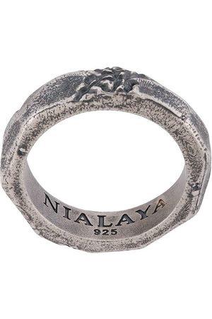 Nialaya Jewelry Men Rings - Engraved ridged ring