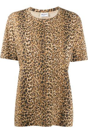 Saint Laurent Leopard print T-shirt - Neutrals