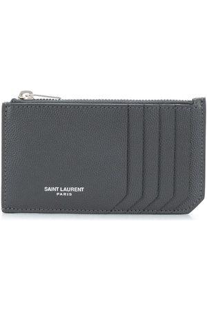 Saint Laurent Zip-fastened leather cardholder - Grey