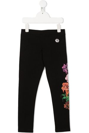 Philipp Plein Girls Leggings - Floral slim-fit leggings