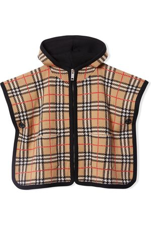 Burberry Ponchos & Capes - Vintage Check jacquard hooded poncho - Neutrals