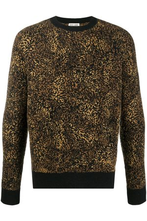 Saint Laurent Men Sweaters - Leopard jacquard jumper