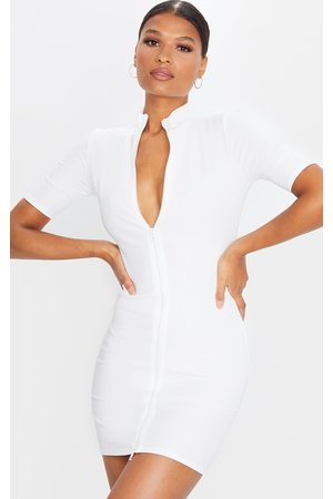 PRETTYLITTLETHING Zip Front Rib Short Sleeve Bodycon Dress