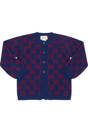 Gucci Logo Jacquard Wool Knit Cardigan