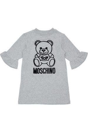 Moschino Girls Dresses - Flocked Toy Bear Cotton Sweat Dress