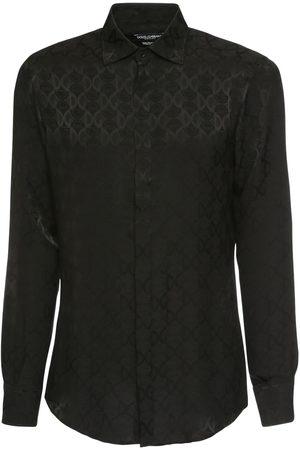 Dolce & Gabbana New Dg Logo Jacquard Silk Shirt